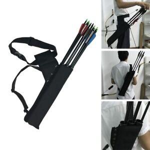 Archery-Arrow-Quiver-Holder-3-Tube-Back-Waist-Shoulder-Strap-Bag-Pouch-Hunting