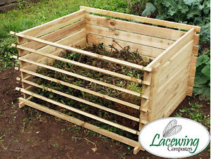 wooden compost bin yard waste easy load removable slats organic