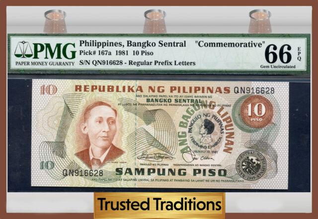 "TT PK 167a 1981 PHILIPPINES 10 PISO ""COMMEMORATIVE PMG 66 EPQ GEM"