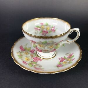 Vintage-Rosina-Queens-Bone-China-Footed-Cup-and-Saucer-Pattern-5074-England