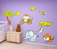Colourful Cartoon Animals Kid's Children's Nursery Wall Art Stickers Decals