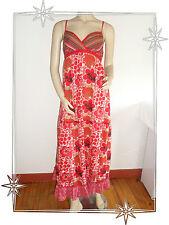 Robe Fantaisie à Bretelles Longue Rouge Imprimée La Halle Taille 38