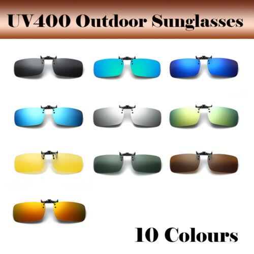 UK Polarized Lenses Flip-Up Clip On Sunglasses UV400 Driving Outdoor Glasses