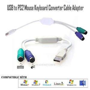 1X Dual PS2 Female to USB Male Converter Adaptor Cable F//M for Mouse Keyboard