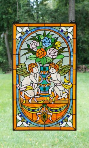 "20/"" x 34/"" Handcrafted stained glass window panel Jeweled two angel"