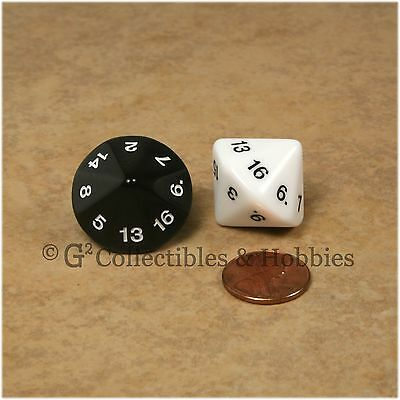 NEW Pair of Black White Large 20mm D16 16 Sided Game Dice D&D RPG 13/16 inch