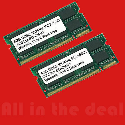 8GB DDR2 667MHZ PC2 5300 256x8 (2x4GB) SODIMM LAPTOP MEMORY 8 GB 667