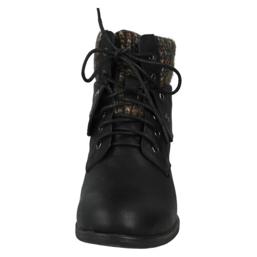 LADIES WOMENS F50613 SPOT ON LACE UP BLACK BROWN CASUAL WINTER ANKLE BOOTS SHOES