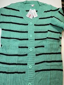 Nwt Lularoe Size Small S Lucille Sweater Cardigan Knit Aqua Green & Black Stripe