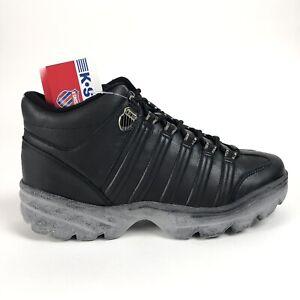 designer fashion 4041c 852b4 Details about K Swiss Mens 14 Altezo II Mid Black Gum Sole Shoes Retro  Sneakers 0749001