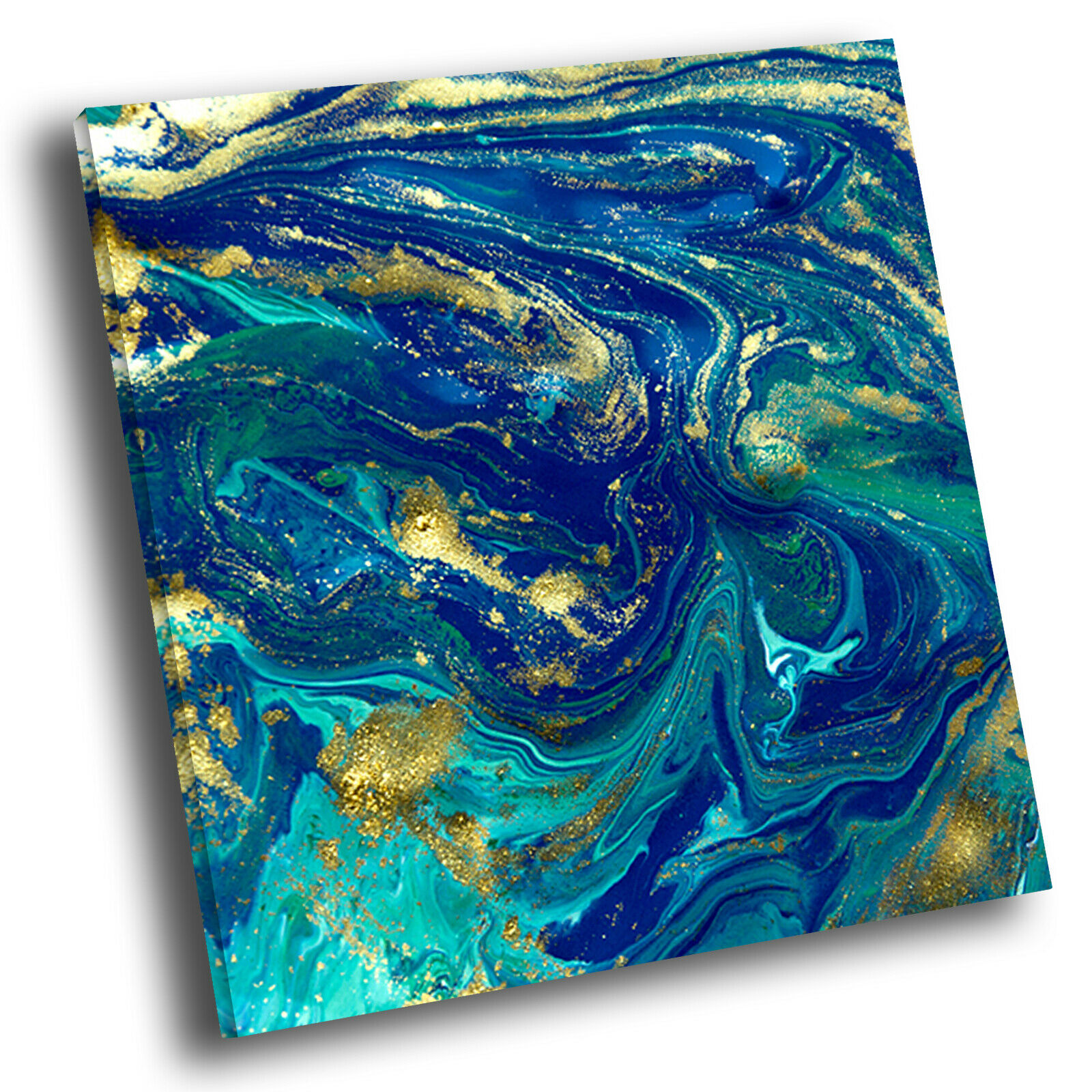Blau Teal Gelb  Square Abstract Photo Canvas Wall Art Large Picture Prints