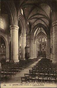 Dieppe-France-carte-postale-1925-Nef-centrale-de-L-039-Eglise-St-Remy-Innenansicht