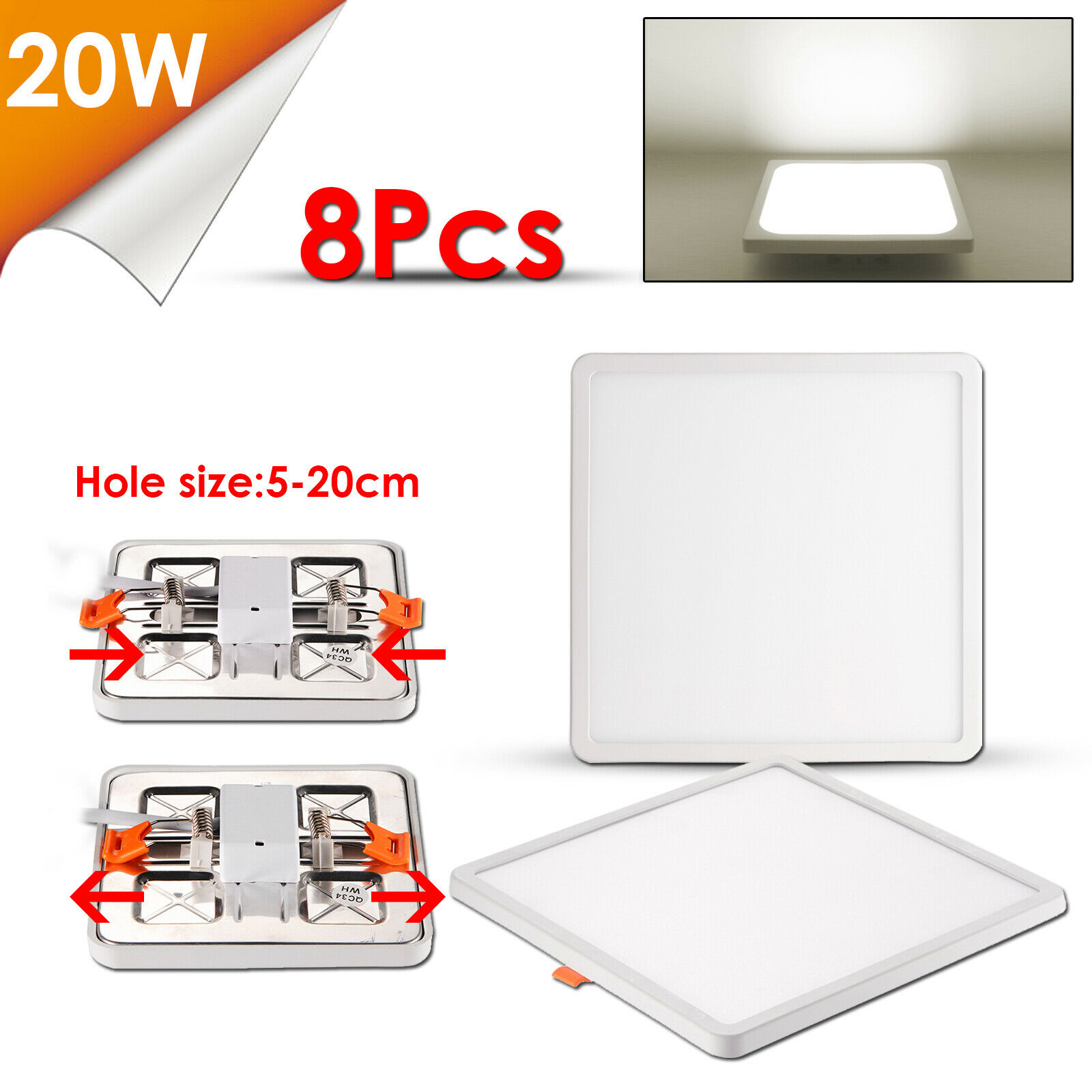 8x 20w LED Panel instalación emisor medidor plafón cuadrado neutral blancoo ac220v