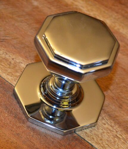 Polished Chrome Octagonal Centre Pull Door Knob Handle JV33CP