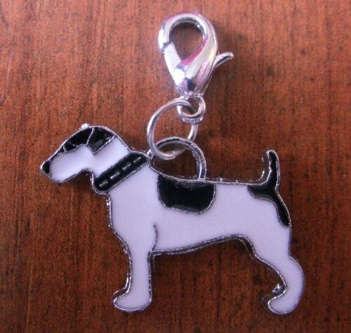 charms argentée chien noir et blanc