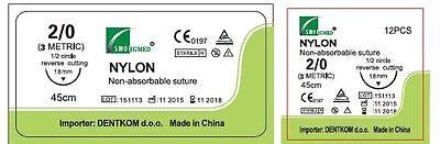 24 Fili Per Sutura in Poliammide  Dentkom 2-0 Reverse Cutting 18 mm -1/2 cerchio