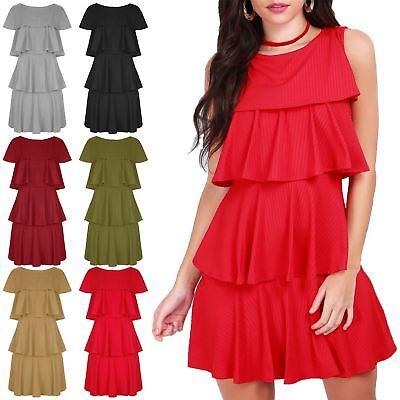 Womens Ladies Peplum Ruffle Flared Frill Sleeve Swing Side Pockets Mini Dress