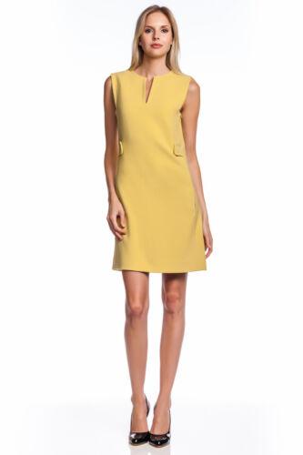 Rachel Roy Mini Mod Shift Dress Citrine Sleeveless Split Neckline 60/'s Yellow