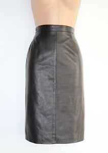 Women-039-s-Vintage-PARTINA-High-Waist-Mid-Calf-Pencil-Brown-100-Leather-Skirt-UK8