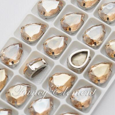 24pcs Glass Pear 4320 18x13mm Crystal Metal Plate Mix Color Sew On Rhinestones