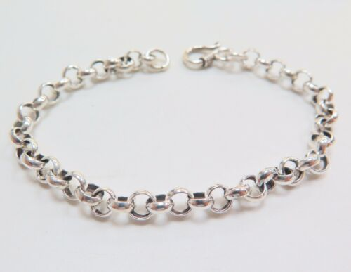 """Hot Sale Fine Pure S925 Silver Bracelet 6mm Perfect Rolo Link Lucky Chain// 7.9/""""L"""