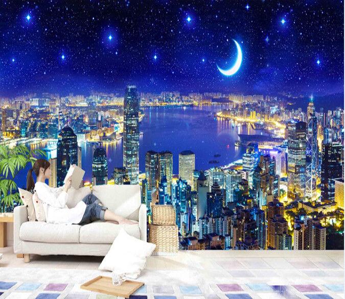 Papel Pintado Mural De Vellón Escena Nocturna De Ciudad 2 2 Ciudad Paisaje Fondo Pantalla acfac8