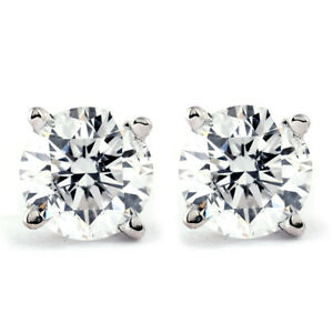 1-CT-T-W-Genuine-White-Diamond-Studs-10K-White-or-Yellow-Gold
