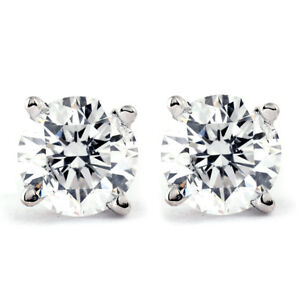 1-CT-T-W-Genuine-White-Diamond-Studs-14K-White-or-Yellow-Gold