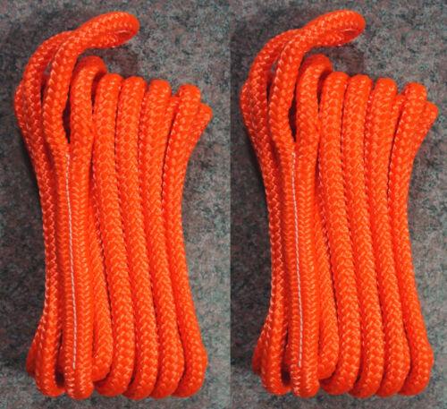 "Orange Double Braided 3//8/"" x 20/' ft Boat Marine HQ Dock Lines Mooring Ropes 2"