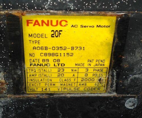 FANUC ROBOTICS AC SERVO MOTOR 20F A06B-0352-B731 *PZF*