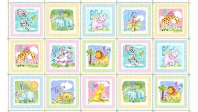 Gingham Safari Animals Panel Cotton Quilting Sewing Fabric