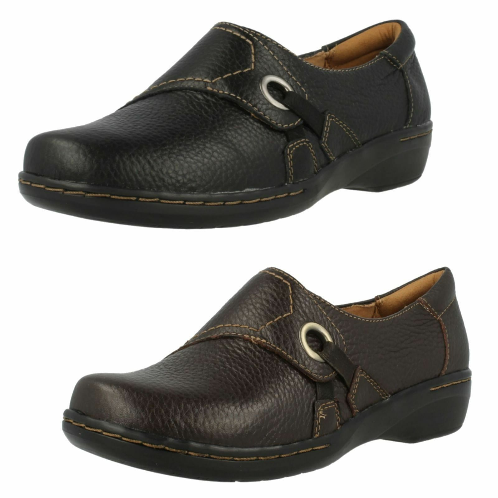 Ladies Leather Clarks 'Evianna Boa' In Black&Brown; D Fitting - Great Price!