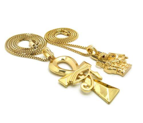 "Ankh Pendant 24/"" 30/"" Box Chain 2 Necklace Set RC2891G Egypt Gold Anubis"