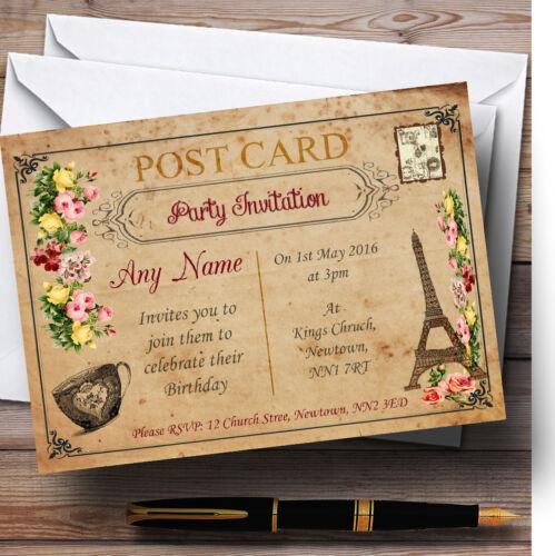 Vintage Paris Shabby Chic Carte postale Personnalisé Fête D/'Anniversaire invitations