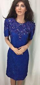 Robe sequins Femme S et American Taille soie à Night en perles LASc5R34jq