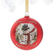 VINTAGE SNOWMAN Glass Ball Ornament Christmas Decor NEW Sparkling Accents