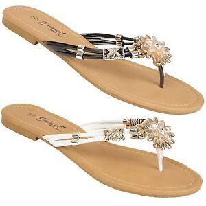 2147ef74b0be ZIRCONIA Womens Toe Post Jewelled Flat Diamante Backless ...