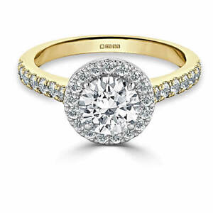 1.40 Ct Round Cut Real Moissanite Anniversary Ring 14K Solid Yellow Gold Size 7