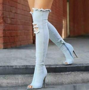 Women-Denim-Over-Knee-High-Boots-Summer-Stiletto-Sandals-Peep-Toe-High-Heel-Chic