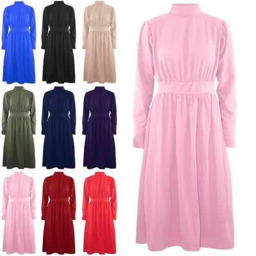 Women Ladies Long Sleeve Polo High Roll Neck Waist Band Pleated Swing Midi Dress
