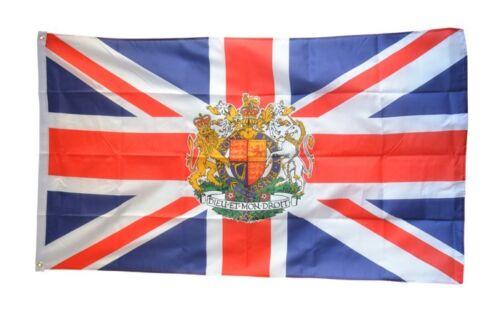 Fahne Großbritannien mit Wappen Flagge britische Hissflagge 90x150cm