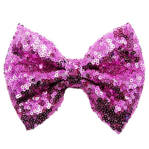 Girls Bowknot Kids Cute Hair Glitter Shiny Sequin Bow