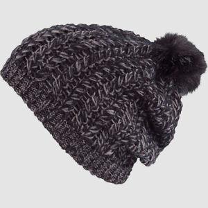 $75 Pistil Women's Black Cable-Knit Logo Avalon Slouchy Winter Beanie One Size