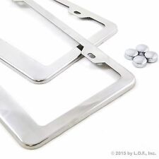 2 Polished Stainless Steel Plain Blank Metal License Plate Tag Frame Cover Caps