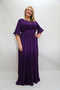 Details about *TALL* Plus Size Long Maxi Dress in Red, Purple and Black  Chiffon with sleeves