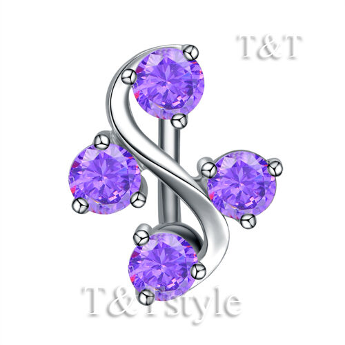 TT Reverse S Sharp CZ Belly Button Ring Choose Colour