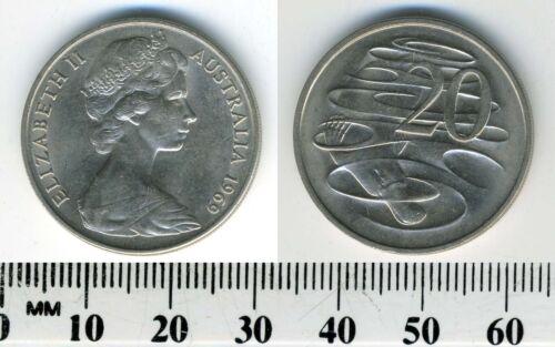 Australia 1969-20 Cents Copper-Nickel Coin Q Elizabeth II Platypus