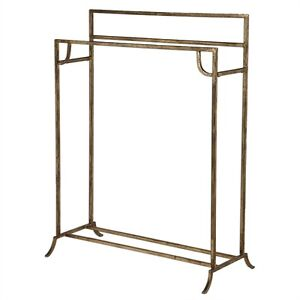 Hand Forged Iron Quilt Rack Holder Distressed Antique Gold