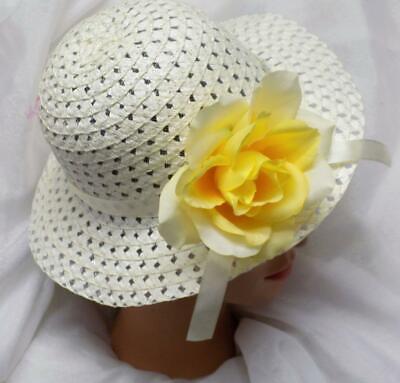 CREAM EASTER BONNET EASTER HAT TODDLER LITTLE GIRLS w//YELLOW ROSE NEW!