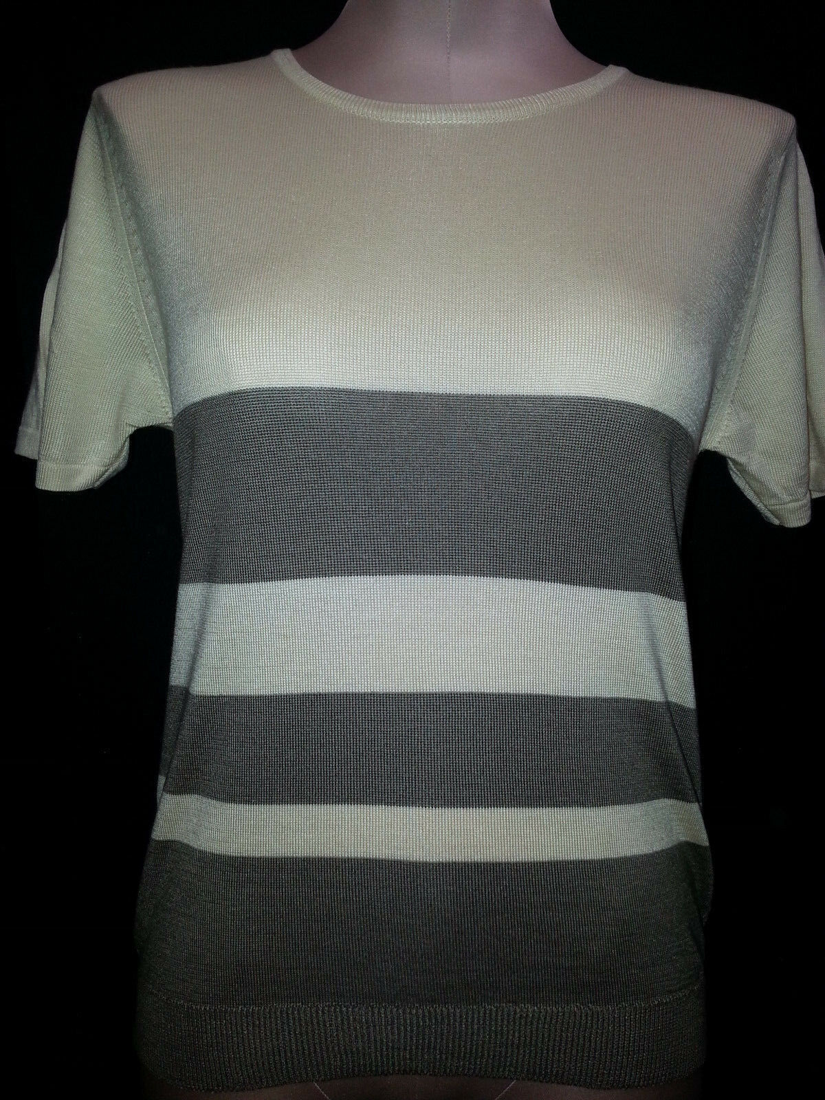 Shirin Sweater Short Sleeve Womens Cashmere Silk Beige Green Sz S Small Scotland
